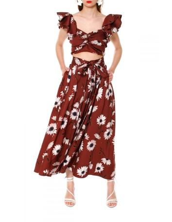 Falda midi con estampado floral anudada a la cintura ideal en INVITADISIMA