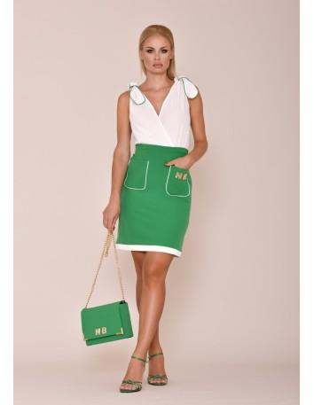Vestido corto bicolor sin mangas y falda de tubo con bolsillos