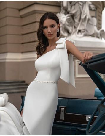 Asymmetrical neckline wedding dress with bow detail