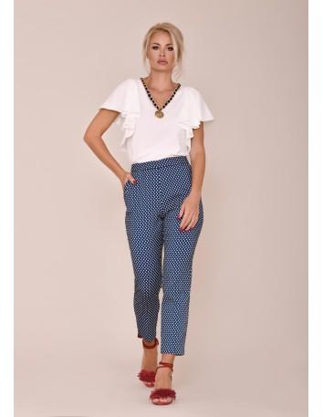 Straight cut pants with pockets and polka dot print