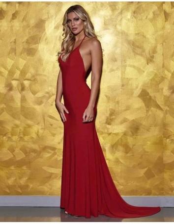 Vestido de fiesta largo rojo con cola