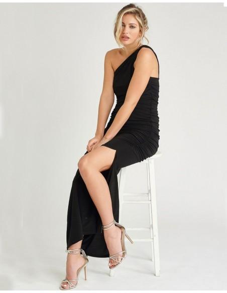 Vestido de fiesta largo negro con escote asimétrico - Angelina Revie London - 2