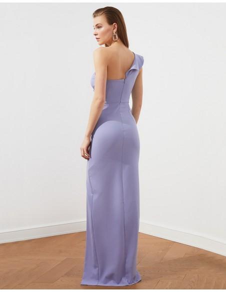 Maxi dress with asymmetrical neckline and button detail Lauren Lynn London - 7