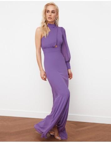 Vestido de fiesta largo con una manga lila Lauren Lynn London - 1