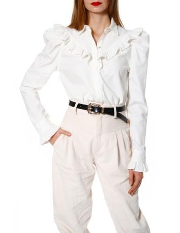 Blusa de micro pana en blanco roto con volantes y manga larga perfecta para cualquier ocasión en INVITADISIMA