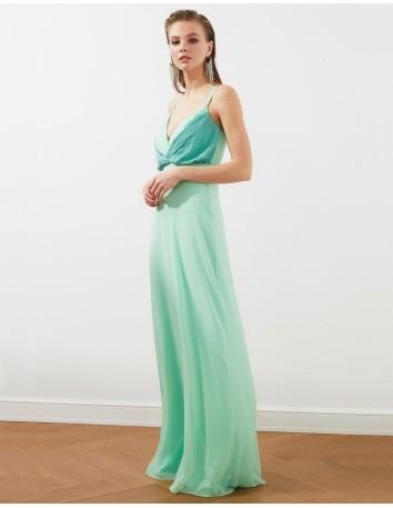 Vestido de fiesta largo de tirantes en color menta Lauren Lynn London - 1