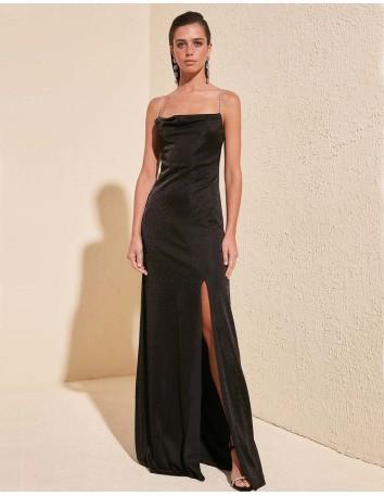 Vestido de fiesta largo negro con tirantes joya Lauren Lynn London - 5