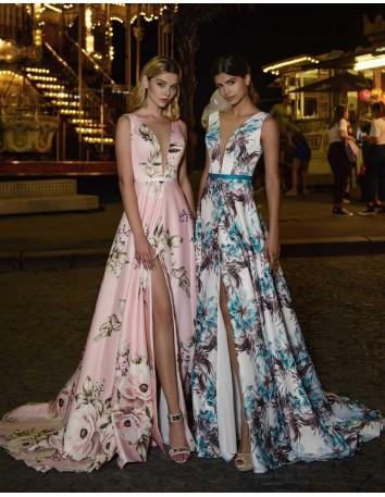 Evening dress with v-neckline and floral print EMABRIDE - 1