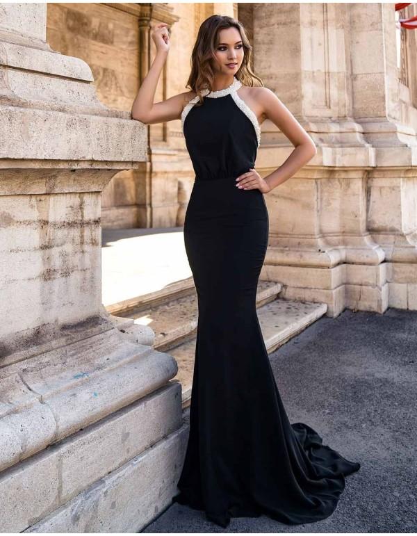 Evening dress with halter neckline and pearl neckline EMABRIDE - 1