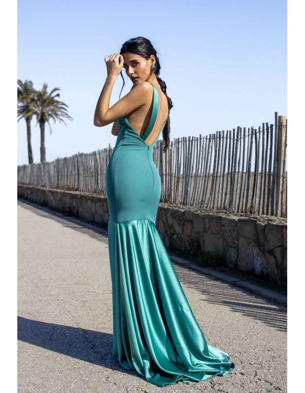 Vestido de fiesta largo con corte sirena y tirante ancho de espalda descubierta verde salvia