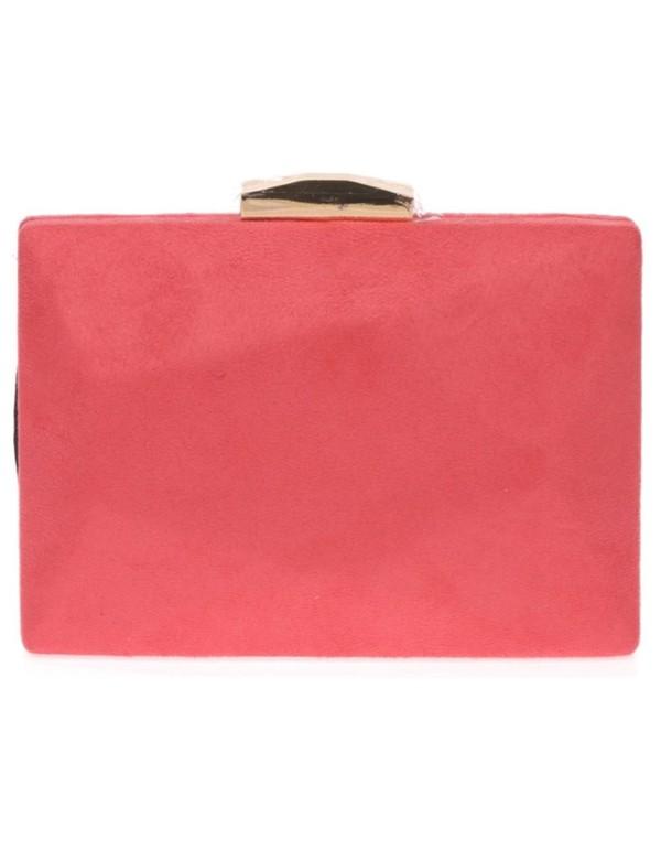 Suede handbag with golden metallic clasp Lauren Lynn London Accessories - 2