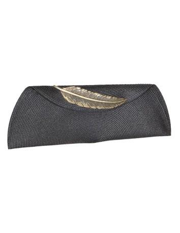 cartera de rafia con pluma de latón Carmen Fernández Complementos - 1
