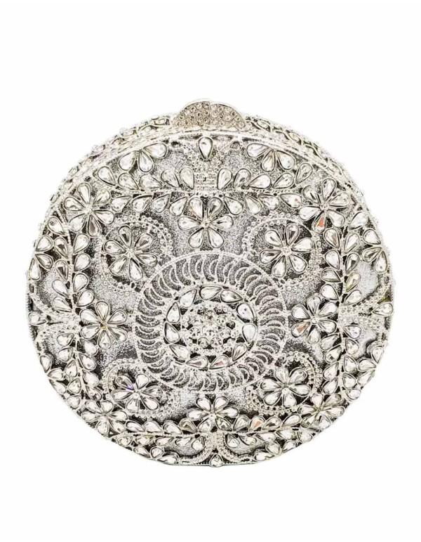 Bolso de mano joya con pequeñas flores de metal y Swarovski circular Lauren Lynn London Accessories - 1