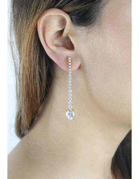Long earrings with 17 zircons Bombay Sunset - 2