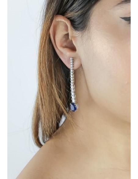 Long earrings with 17 zircons Bombay Sunset - 3