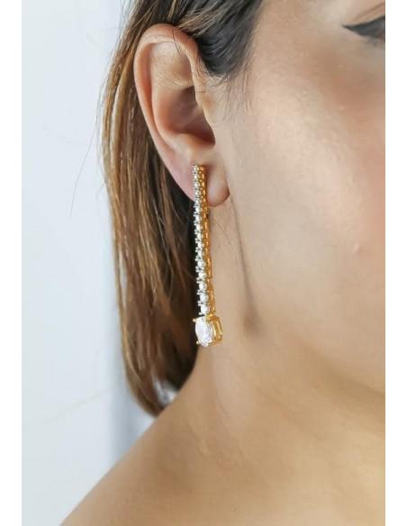 Long earrings with 17 zircons Bombay Sunset - 4