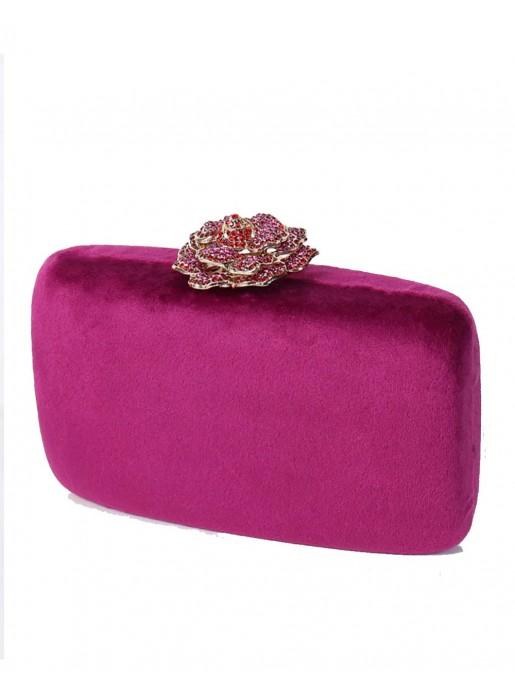Bolso de terciopelo con cierre joya en forma de rosa Lauren Lynn London Accessories - 1