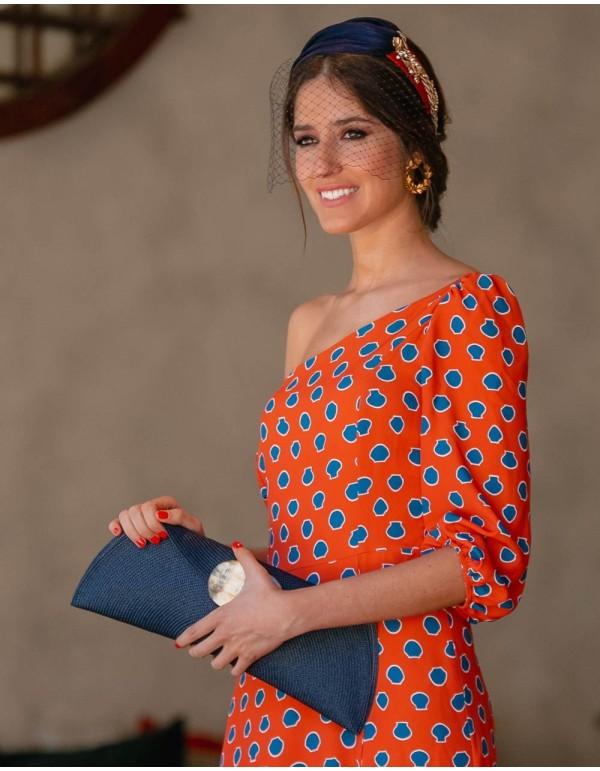 Blue and red silk sinamai tiara - INVITADA PERFECTA Carmen Fernández Complementos - 1