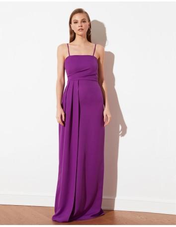Vestido de fiesta largo de tirante fino con abertura frontal y cascada Lauren Lynn London - 1