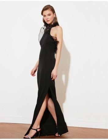 Evening black dress with organza ruffles Lauren Lynn London - 1