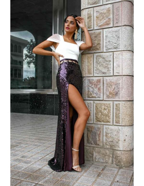 Falda larga de fiesta con paillettes y abertura en el lateral morada