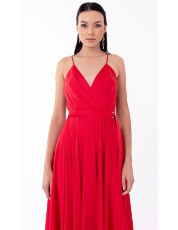 Vestido de fiesta largo corte imperio con vuelo y escote en V en rojo