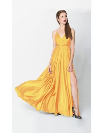 vestido largo de fiesta amarillo con abertura lateral y escote en V drapeado en INVITADISIMA