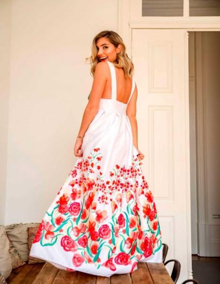 Vestido largo de fiesta con espalda descubierta estampado flores Mauî Official - 3