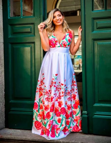 Vestido largo de fiesta con espalda descubierta estampado flores Mauî Official - 4