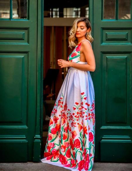 Vestido largo de fiesta con espalda descubierta estampado flores Mauî Official - 5