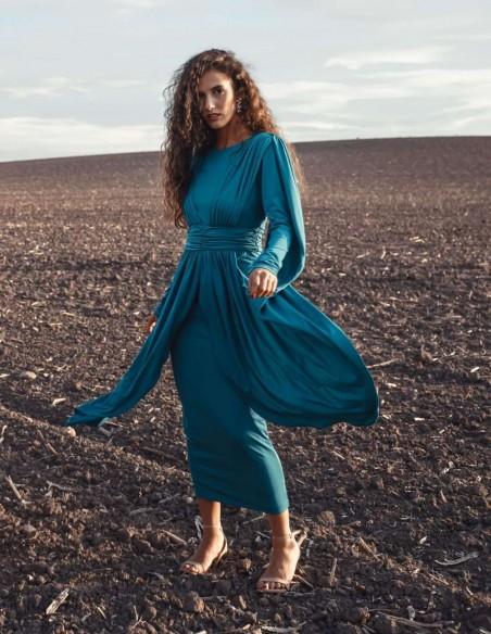 Vestido midi con cintura fruncida y manga capeada azul Mordisco de Mujer - 2