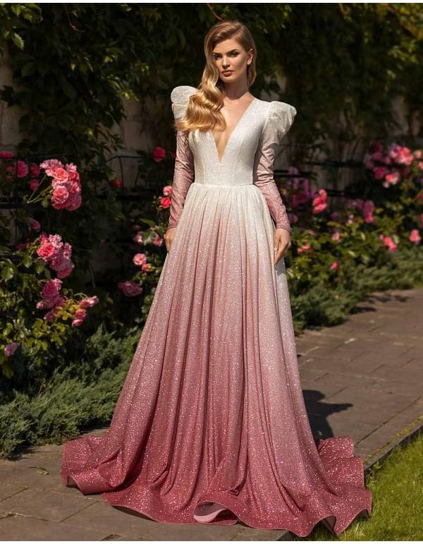 Vestido de novia degradado en tela brillo Ricca Sposa - 1