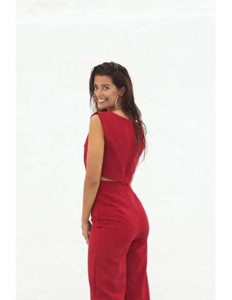 Pantalón largo de fiesta rojo recto en INVITADISIMA
