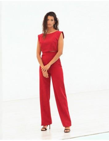 Pantalón largo de fiesta rojo recto Mauî Official - 1