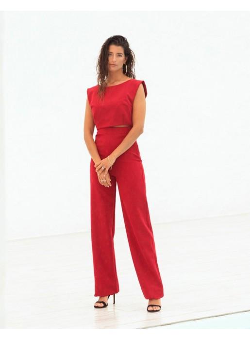 Pantalón largo de fiesta rojo recto de Maui