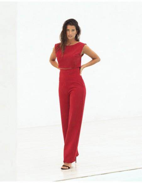 Pantalón largo de fiesta rojo recto