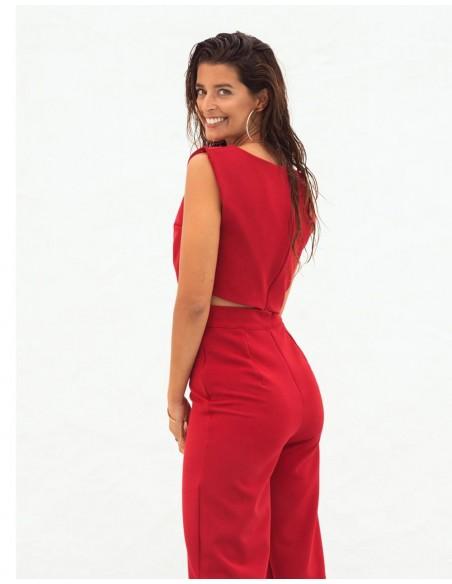 Crop-top de fiesta rojo sin mangas con cremallera en la espalda de Maui
