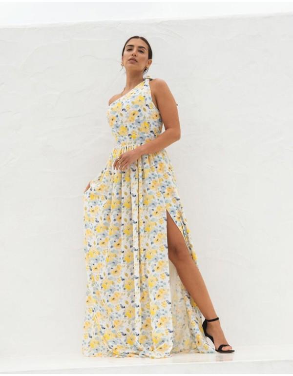 Vestido largo de fiesta con escote asimétrico y estampado de flores amarillas