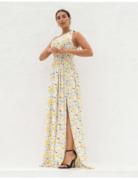 Vestido largo de fiesta con escote asimétrico y estampado de flores amarillas 3