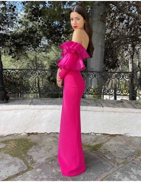 vestido-en-crepe-con-organza-de-seda-color-fucsia Victoria Victim - 1