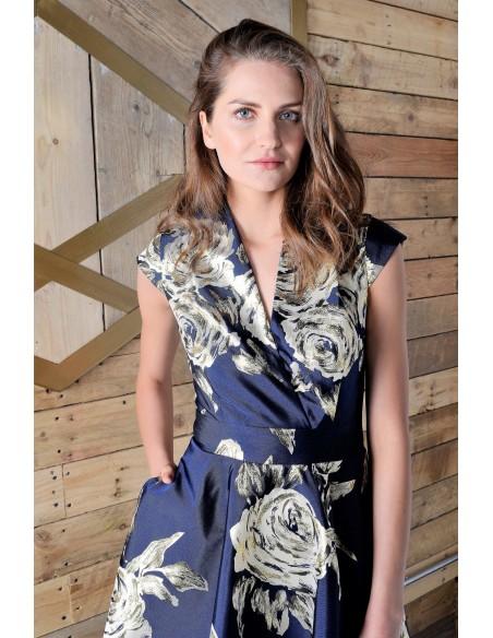 Vestido corte midi marino con estampado dorado de flores - Meghan Revie London - 2
