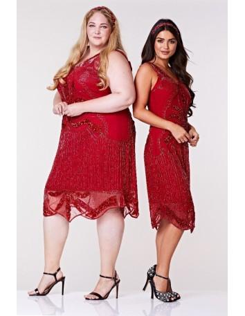 Vestido cóctel rojo lentejuelas y cuentas de Gatsbylady London