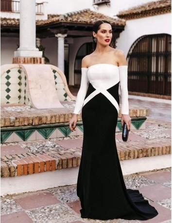 Vestido de crepe bicolor Victoria Victim - 1