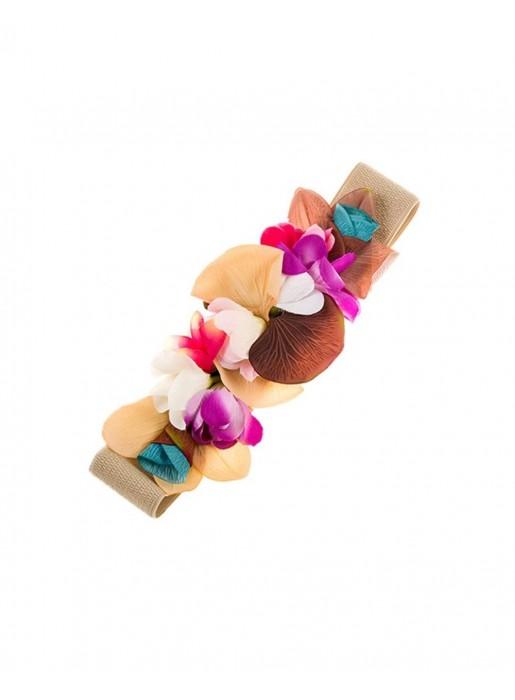 Cinturón de flores en tonos amarillos, ocres y lilas Elenitos - 1