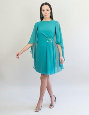 vestido-de-georgette-con-aplicacion-joya-largo-desde-la-cintura-60-cm-color-verde-turquesa Victoria Victim - 1