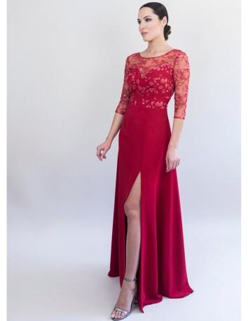 vestido-concuerpo-de-tul-bordado-y-falda-de-georgette-largo-desde-la-cintura-123-cm-color-rojo Victoria Victim - 1