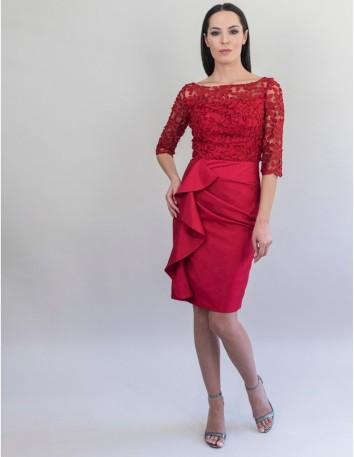 Vestido con cuerpo de tul bordado y falda de mikado salvaje.Largo desde la cintura 60 cm.Color Rojo. Victoria Victim - 2