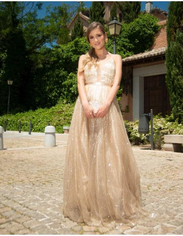 Vestido de fiesta largo de tul brillante Lauren Lynn London - 2