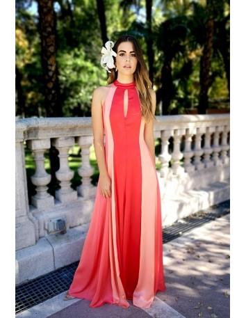 Vestido de fiesta largo tricolor escote halter y abertura Móz Spain - 1