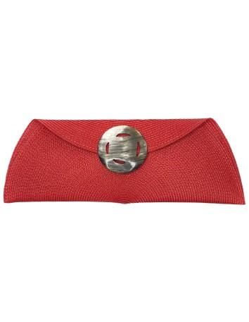 red Raffia handbag with openwork shaped shaft